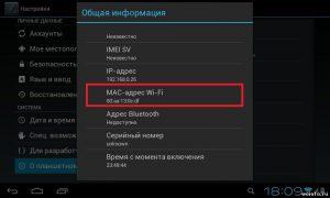 Настраиваем планшет: MAC и IP адреса